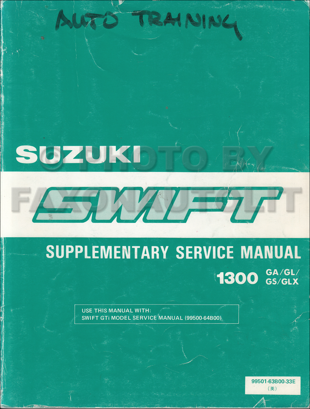 1990 Suzuki Swift Sedan Repair Manual Supplement Original