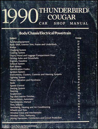ford thunderbird mercury cougar factory wiring diagram orginal 1990 ford thunderbird mercury cougar repair shop manual original