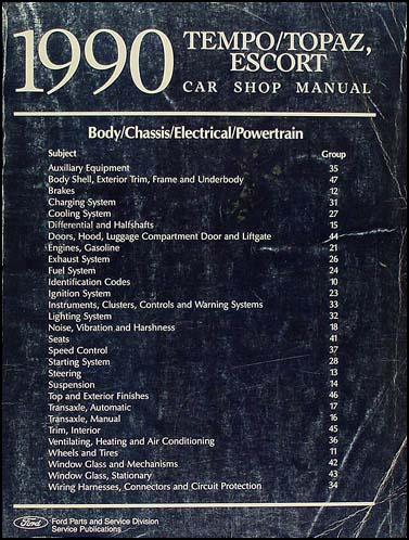 1990 ford tempo mercury topaz shop manual 90 ebay