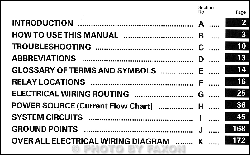 1990 toyota celica all trac 4wd wiring diagram manual original table of contents