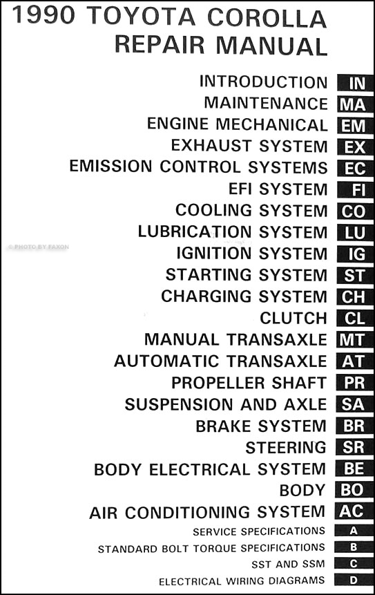 1990 Toyota Corolla Repair Shop Manual Original