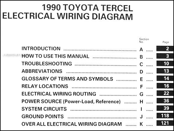 1990 Toyota Tercel Wiring Diagram Manual Original