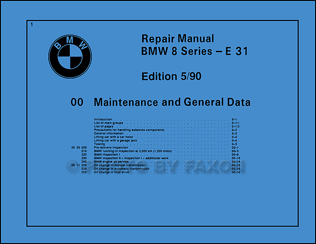 1990 1992 bmw 850i repair shop manual reprint. Black Bedroom Furniture Sets. Home Design Ideas