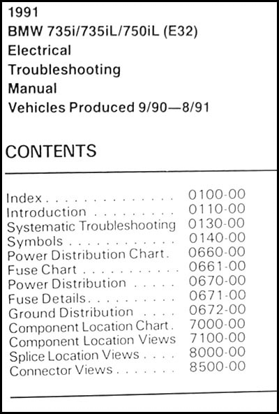 1991 Bmw 735i 735il 750il Electrical Troubleshooting Manual