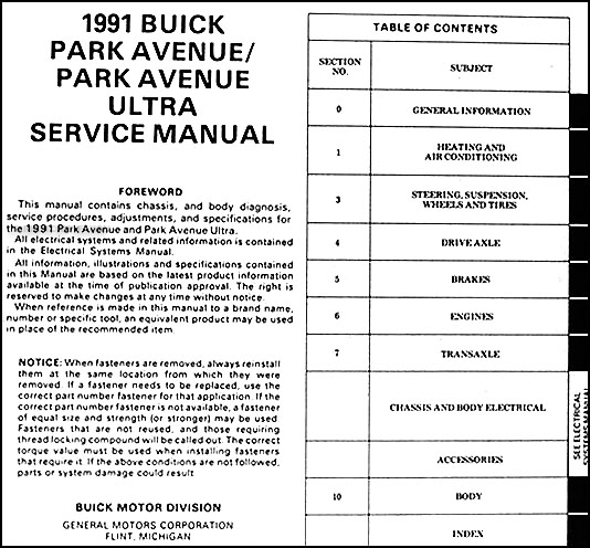 1991 buick park avenue ultra repair shop manual original rh faxonautoliterature com 2003 buick park avenue service manual 1991 buick park avenue service manual
