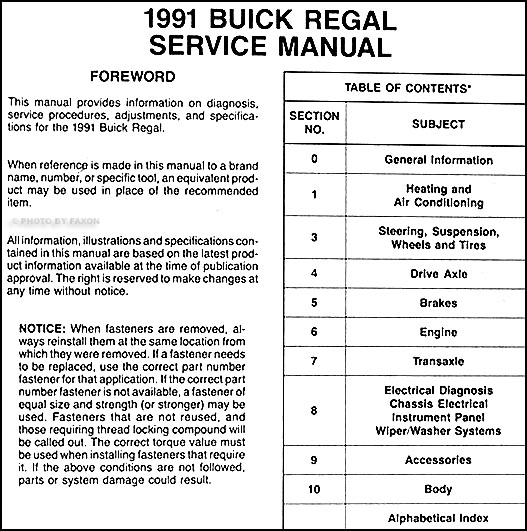 1991BuickRegalORM TOC 1991 buick regal repair shop manual original buick regal wiring diagram at alyssarenee.co