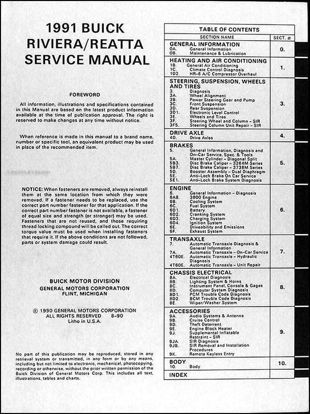 1991BuickRiveraReattaORMTOC 1991 buick riviera & reatta repair shop manual original 1989 buick reatta wiring diagram at reclaimingppi.co