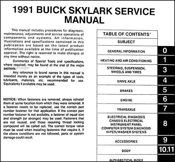 1991 Buick Skylark Repair Shop Manual Original