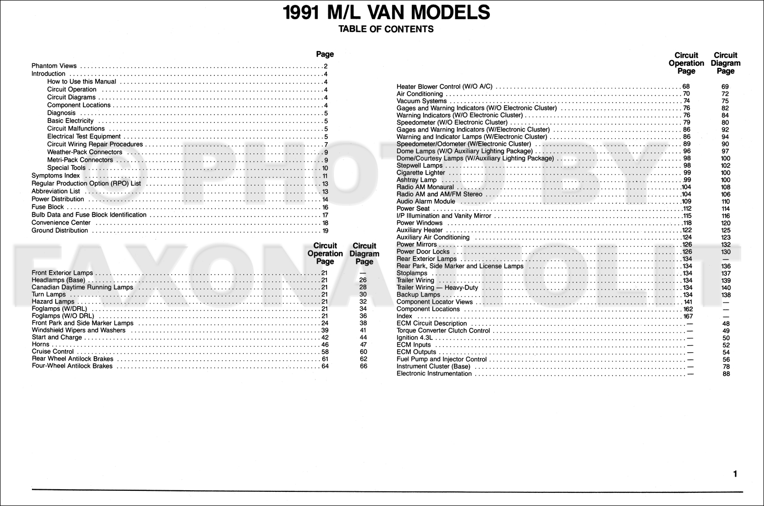 1991 chevy astro van wiring diagram manual original rh faxonautoliterature com