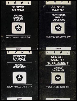 1991 fwd repair shop manual set chrysler lebaron new yorker imperial, dodge  spirit dynasty daytona shadow, plymouth acclaim sundance
