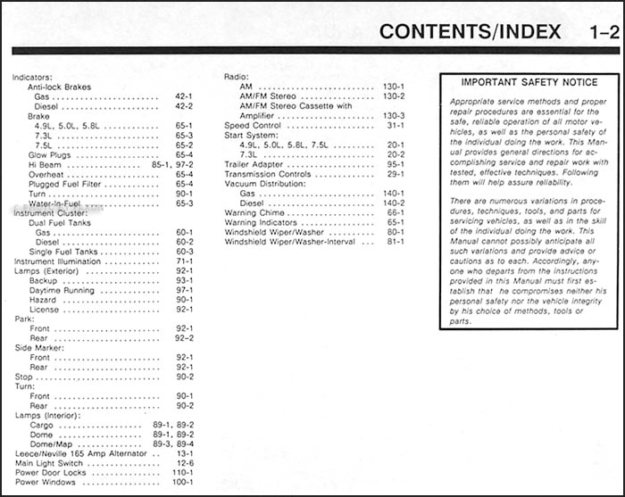 1991EconolineEVTMTOC2 1991 ford econoline van & club wagon electrical troubleshooting manual  at couponss.co