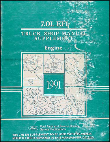 1991 ford truck cab foldout wiring diagram f600 f700 f800 ft900 1991 ford 7 0l efi engine truck repair shop manual original
