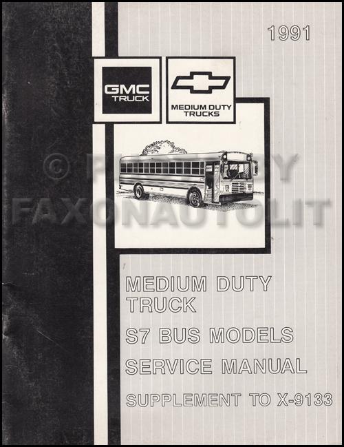 1991 topkick kodiak s7 wiring diagram manual factory reprint 1991 gmc chevy s7 bus repair shop manual original supplement