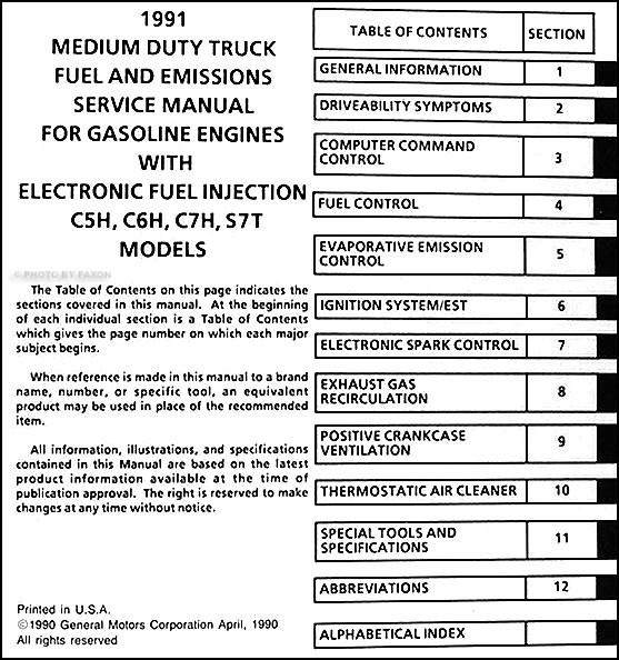 1991 gmc topkick chevy kodiak gas fuel emissions service manual original rh faxonautoliterature com Chevy Blazer Wiring Diagram 2007 Chevy C6500 Wiring-Diagram