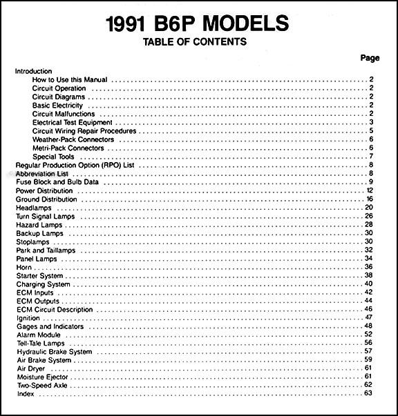 1991 gmc chevy p4 and b6 wiring diagram manual original