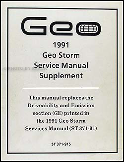 1991 geo storm electrical diagnosis manual original 1991 geo storm driveability emission repair shop manual update original