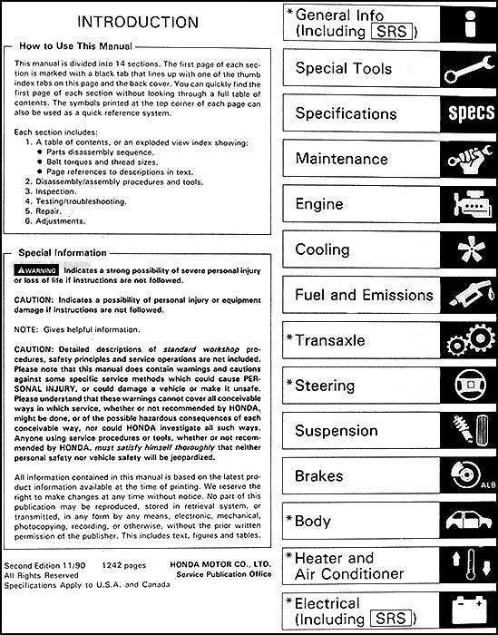 1991 honda accord repair shop manual original rh faxonautoliterature com 1993 honda accord service manual 1992 honda accord repair manual online