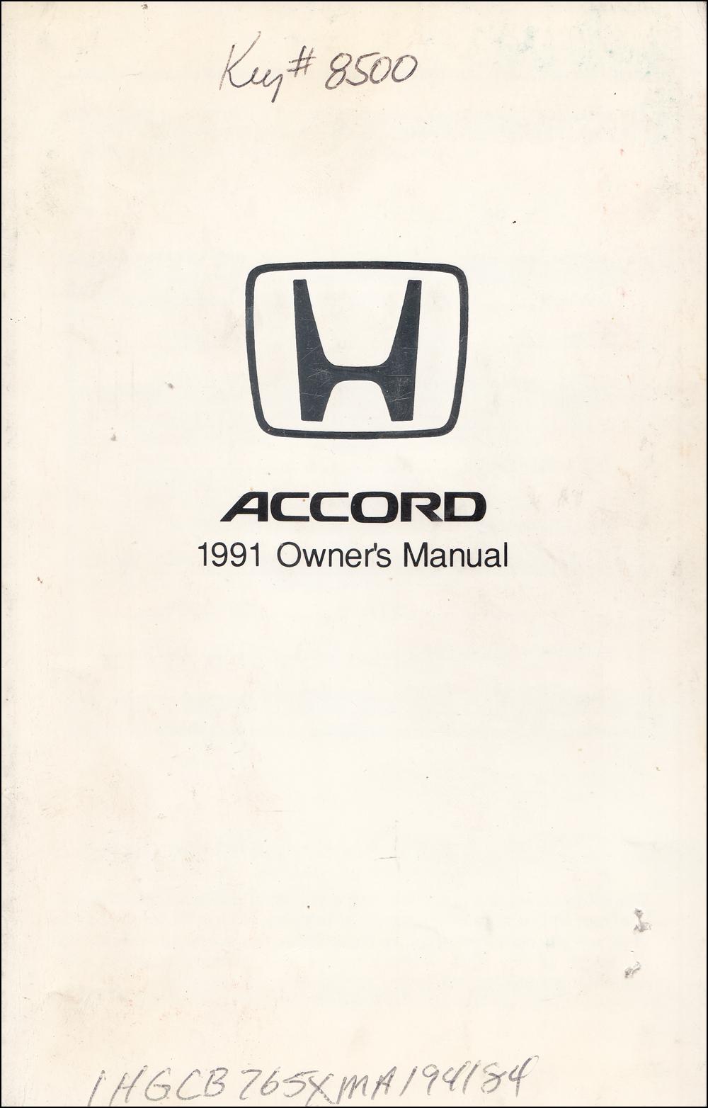 1991 honda accord 4 door sedan owner s manual original rh faxonautoliterature com 1991 honda accord owners manual pdf 1991 honda accord owners manual in spanish