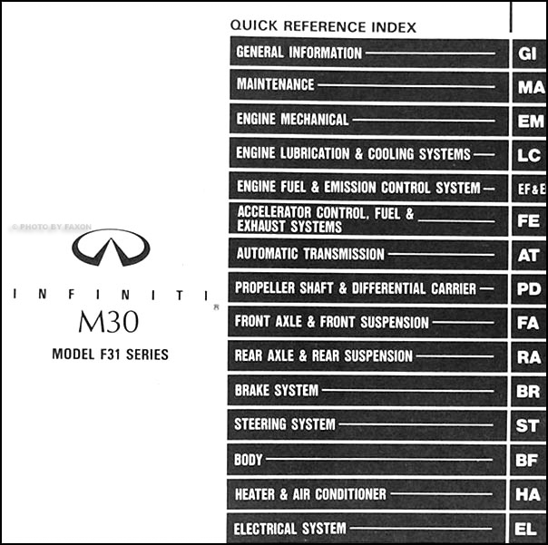 infiniti m repair shop manual original table of contents
