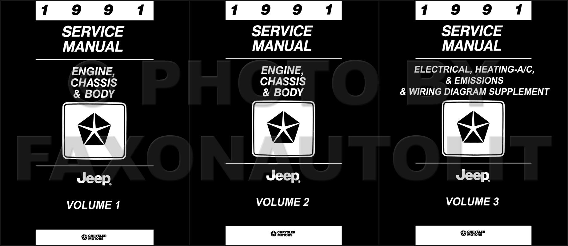 1991 Jeep Repair Shop Manual Reprint 3 Volume Set All Models Wrangler Engine Diagram Original