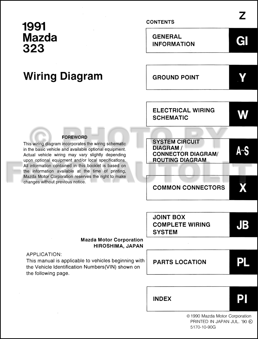 mazda protege stereo wiring diagrams color coded 1991 mazda 323 and protege wiring diagram manual original