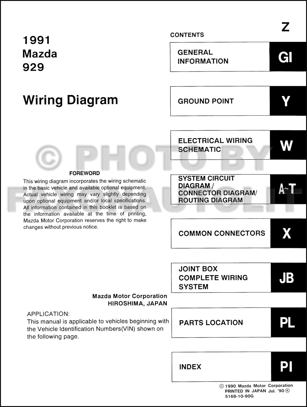 1991 mazda 929 wiring diagram manual original mazda 929 wiring diagram #1