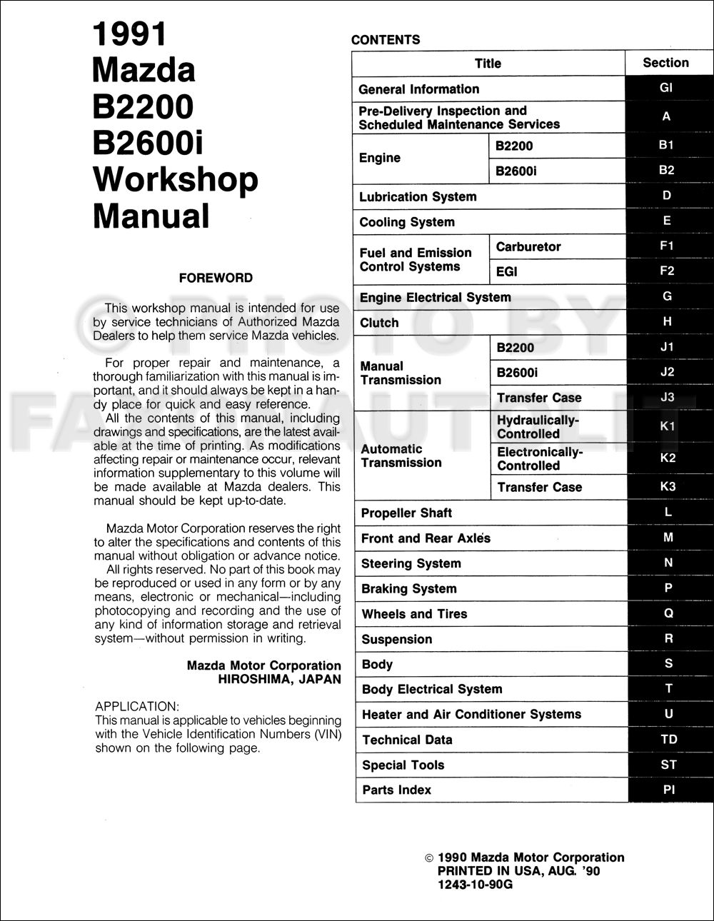 service manual  automobile fuse manual for a 1991 mazda b