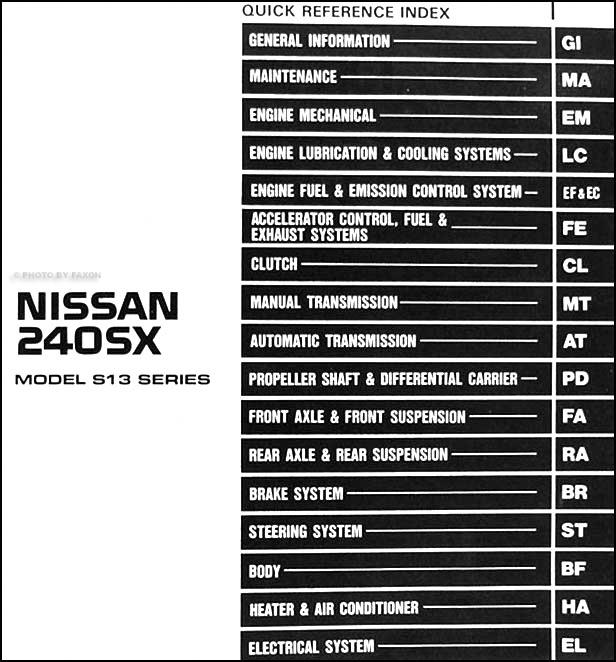 1991 Nissan 240sx Repair Shop Manual Original