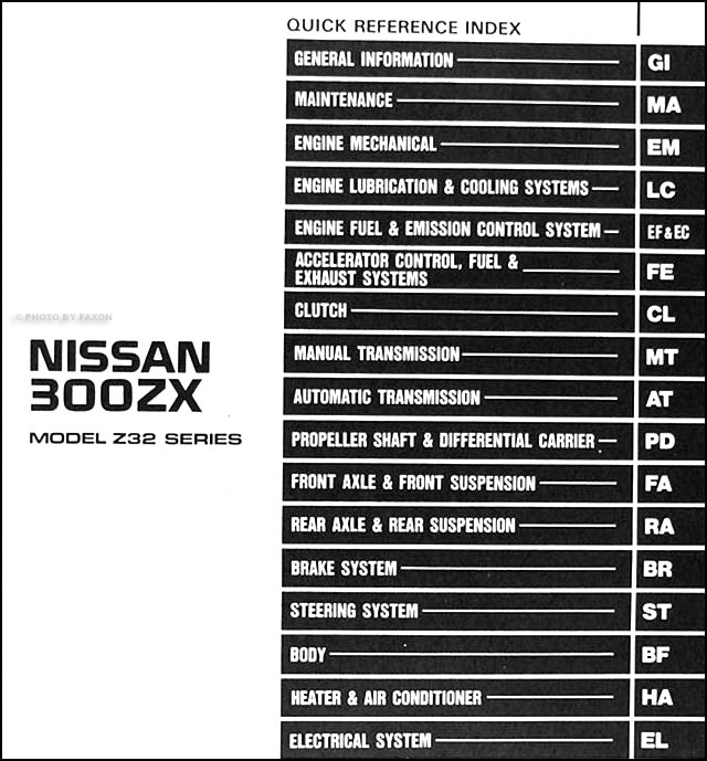 1991Nissan300ZXORM TOC 1991 nissan 300zx repair shop manual original 1996 nissan altima fuse box diagram at crackthecode.co