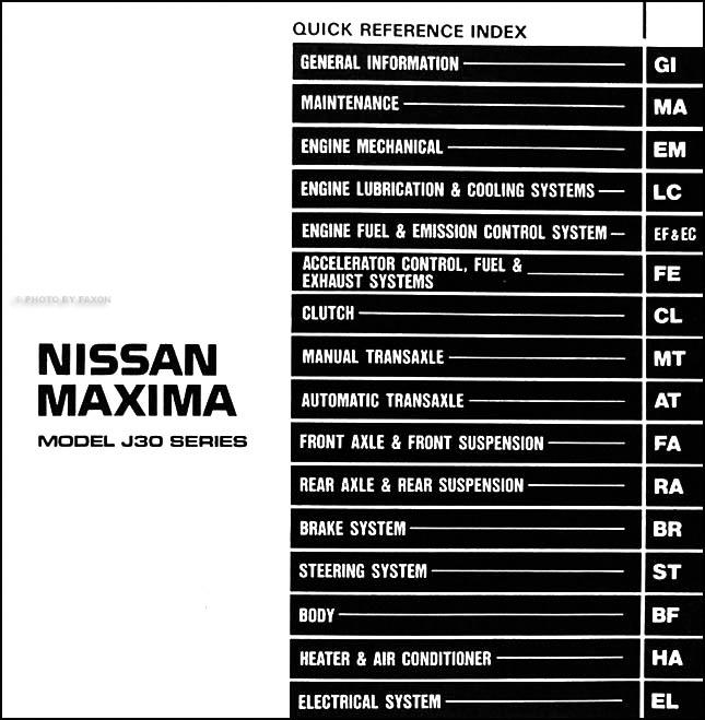 1991 nissan maxima repair shop manual original rh faxonautoliterature com nissan maxima 2000 service manual pdf nissan maxima qx 2000 service manual