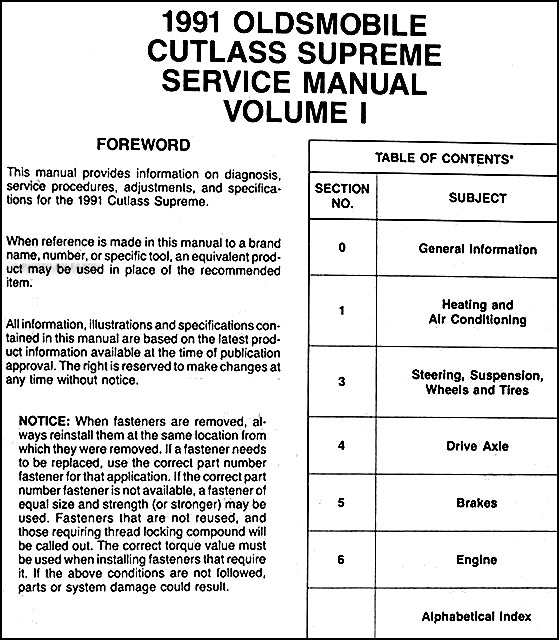 Service Manual Repair Manual Download For A 1994 Oldsmobile Cutlass Cruiser 1985 Olds