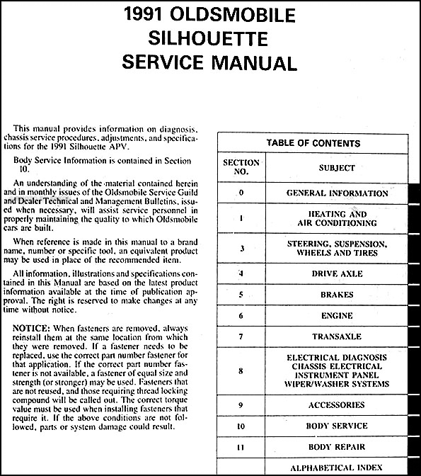 1991 oldsmobile silhouette van repair shop manual original rh faxonautoliterature com 2002 oldsmobile silhouette owner's manual download 1999 oldsmobile silhouette owners manual