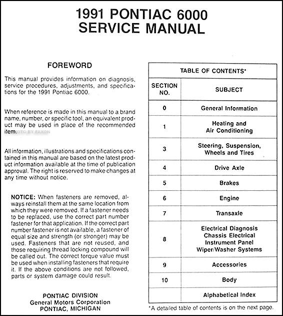1991 Pontiac 6000 Repair Shop Manual Original