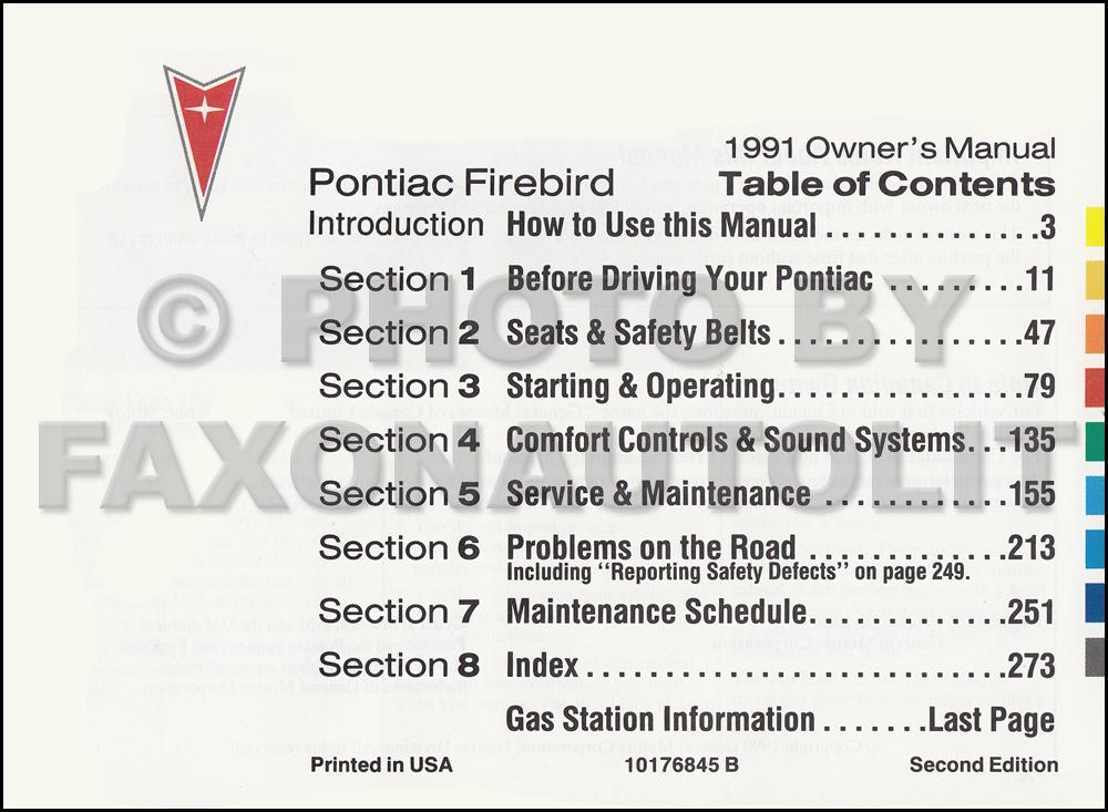 1991 pontiac firebird and trans am owner s manual package with rh faxonautoliterature com 1970 Pontiac Firebird 1979 Pontiac Firebird