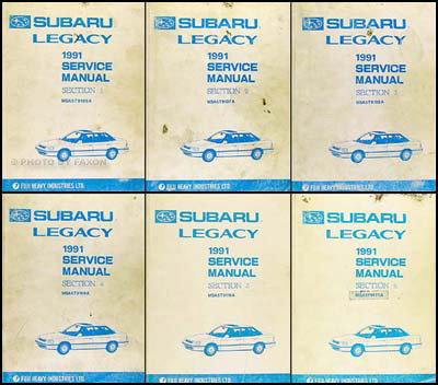 1991 Subaru Legacy Repair Shop Manual 6 Volume Set Original Subaru