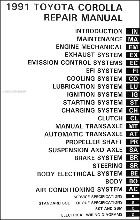 1991 Toyota Corolla Repair Shop Manual Original