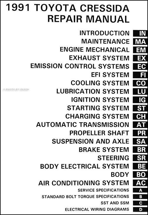1991 Toyota Cressida Repair Shop Manual Original
