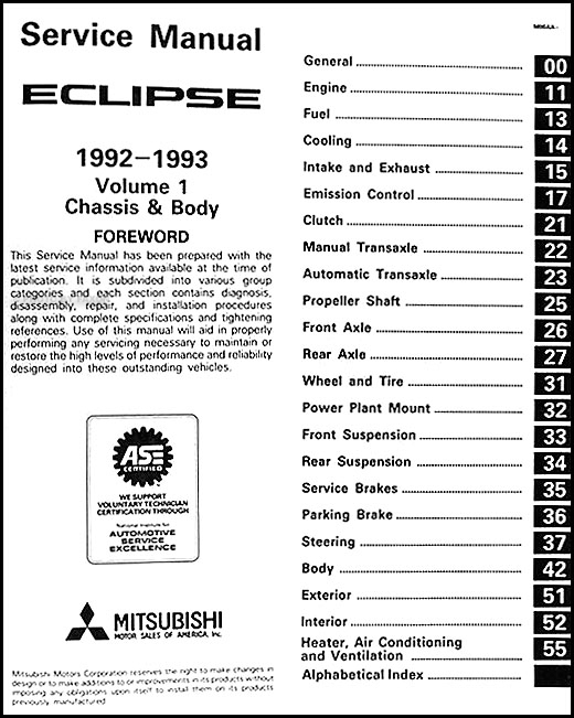 1992 1993 mitsubishi eclipse repair shop manual set original. Black Bedroom Furniture Sets. Home Design Ideas