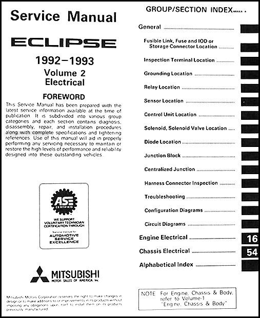 1992 1993 mitsubishi eclipse repair shop manual set original rh faxonautoliterature com 1992 mitsubishi eclipse manual free online 1992 Mitsubishi Eclipse