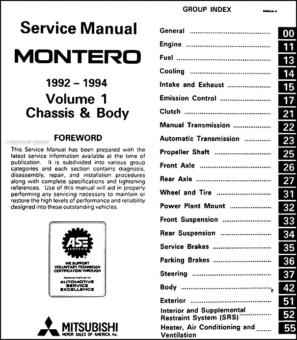 1992 94MitsubishiMonteroORM TOC1 1992 1994 mitsubishi montero repair shop manual set original 2017 Mitsubishi Pajero at reclaimingppi.co
