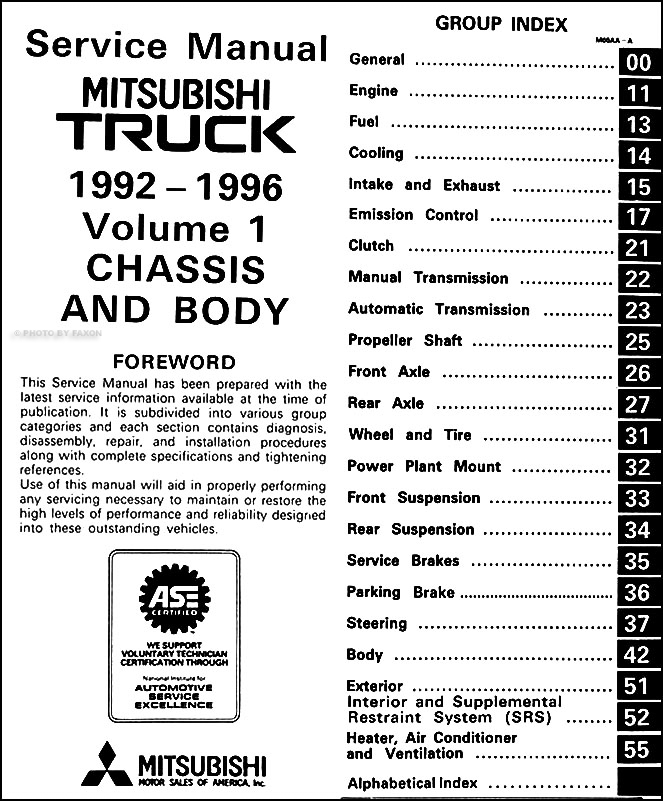 1992 96MitsubishiTruckORM TOC1 1992 1996 mitsubishi mighty max truck repair shop manual set original 1994 Mitsubishi Mighty Max at edmiracle.co