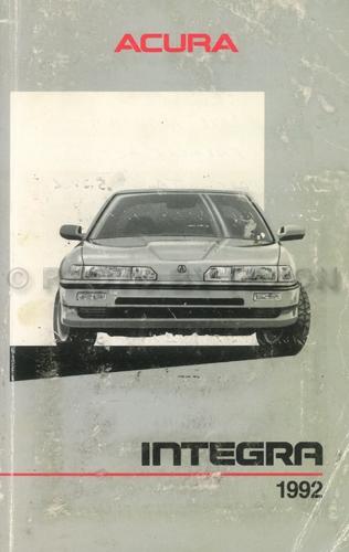 2001 Acura Integra Owners Manual Original Acura