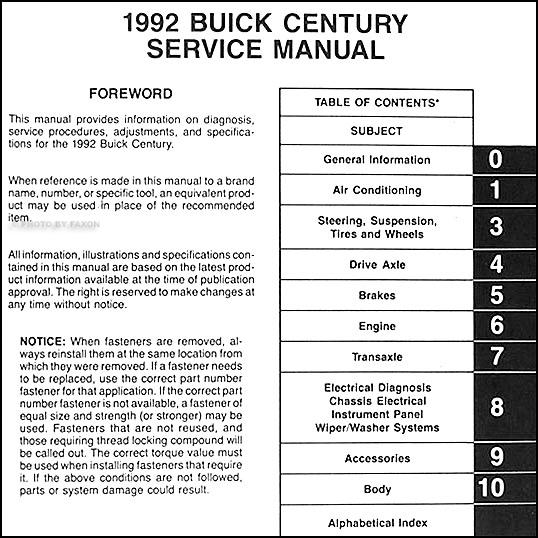 Buickcenturyorm Toc