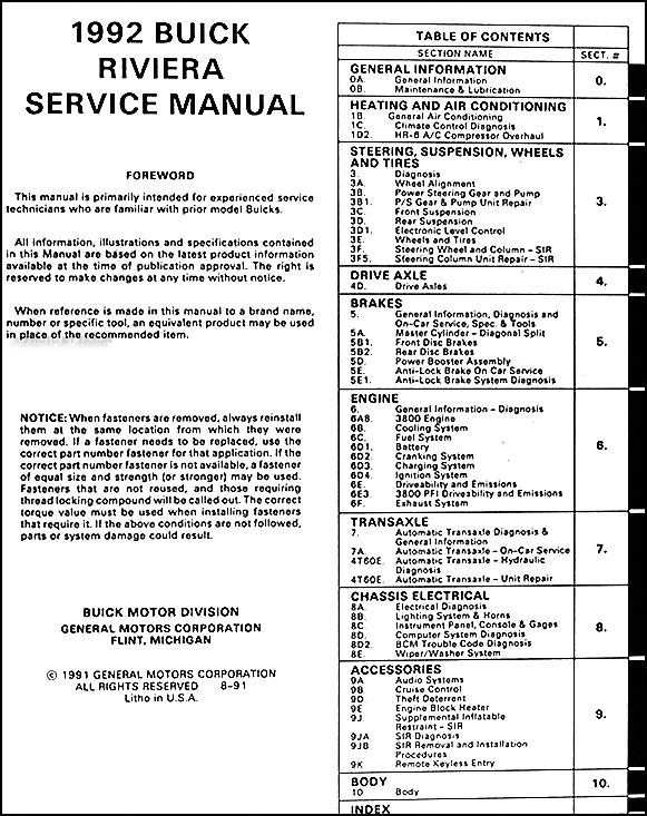1992 buick riviera repair shop manual original 94 Buick Park Ave Wiring Diagrams