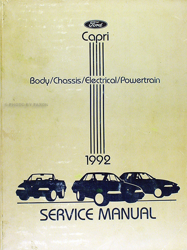 1992 Mercury Capri and XR2 Shop Manual Original