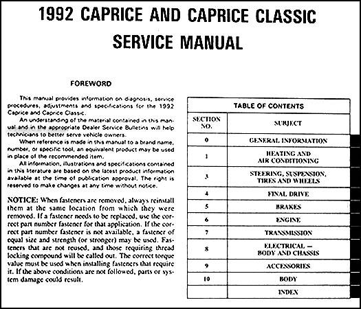 1992 chevy caprice repair shop manual original rh faxonautoliterature com 92 Chevy Caprice Specs 92 Chevy Caprice Police