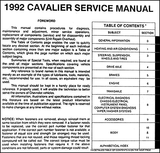 1992 chevy cavalier repair shop manual original rh faxonautoliterature com owners manual 2003 chevy cavalier owners manual 2000 chevy cavalier