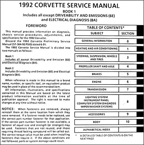 1992 corvette repair shop manual original rh faxonautoliterature com 1992 corvette ac wiring diagram 1992 corvette ac wiring diagram