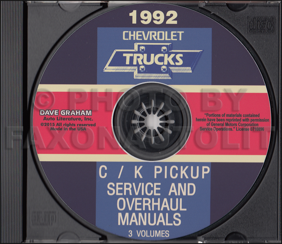 1992 chevy c k pickup suburban blazer wiring diagram manual original 1992 chevrolet c k truck service and overhaul manuals on cd pickup suburban blazer 30 00