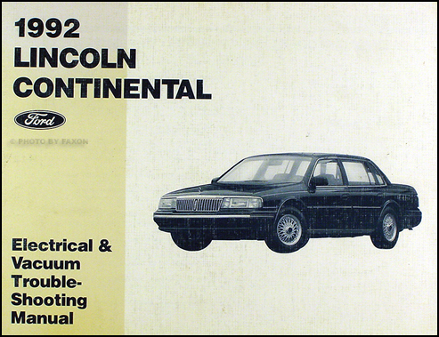 1992 lincoln continental electrical and vacuum troubleshooting manual original ebay. Black Bedroom Furniture Sets. Home Design Ideas